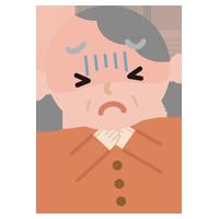 喉が詰まった高齢者の女性のイラスト