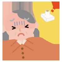 餅が喉に詰まった高齢者の女性のイラスト