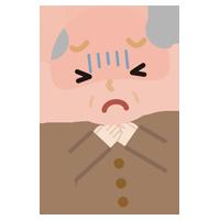 喉が詰まった高齢者の男性のイラスト