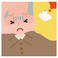 餅が喉に詰まった高齢者の男性のイラスト