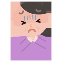 喉が詰まった中年の女性のイラスト