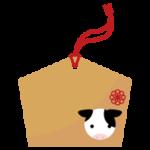 干支の牛が描かれた絵馬のイラスト