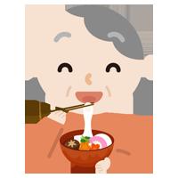 お雑煮を食べる高齢者の女性のイラスト