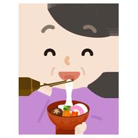 お雑煮を食べる中年の女性のイラスト