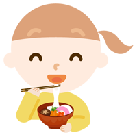 お雑煮を食べる女の子のイラスト