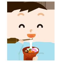 お雑煮を食べる男の子のイラスト