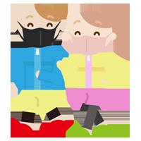 ウォーキングをする若い男女のイラスト(マスク)