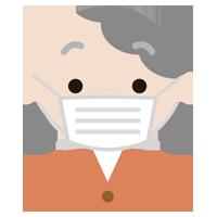 マスクをした高齢者の女性の表情のイラスト(真顔)