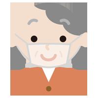 高齢者の女性のマスクの下の表情のイラスト(笑顔)