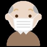 マスクをした高齢者の男性の表情のイラスト(真顔)