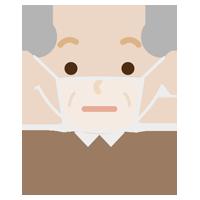 高齢者男性のマスク下の表情イラスト(不機嫌)