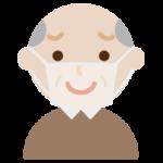 高齢者男性のマスク下表情のイラスト(困り笑顔)