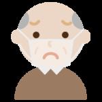 高齢者男性のマスク下の表情イラスト(困惑)