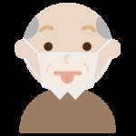 マスクの下で変顔をする高齢者男性のイラスト1