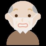 マスクの下で変顔をする高齢者男性のイラスト2