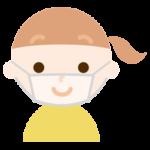 女の子のマスク下の表情のイラスト(笑顔)