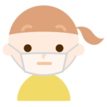 女の子のマスク下の表情のイラスト(不機嫌)