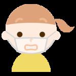 マスク下で変顔をする女の子のイラスト2