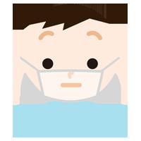 男の子のマスク下の表情イラスト(真顔)