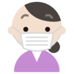 マスクをした中年女性の表情のイラスト(真顔)