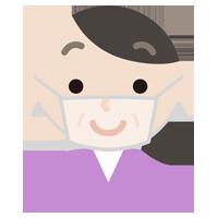 中年女性のマスク下の表情イラスト(笑顔)
