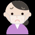 中年女性のマスク下の表情イラスト(困惑)