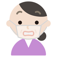中年女性のマスク下の表情イラスト(いー)
