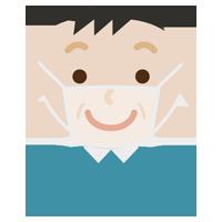 笑顔の中年男性の表情イラスト(マスク下)