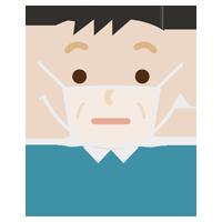 不機嫌な中年男性の表情イラスト(マスク下)