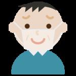 困り笑顔の中年男性の表情イラスト(マスク下)