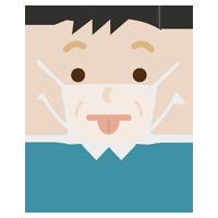 あっかんべーをする中年男性の表情イラスト(マスク下)