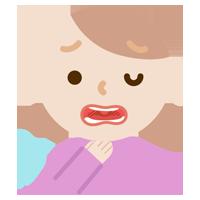 喉痛が辛い若い女性のイラスト1