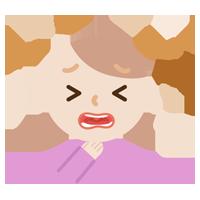 喉痛が辛い若い女性のイラスト2