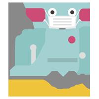 マスクをしたロボットが片手を上げるイラスト