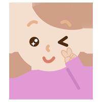 ウインクする若い女性のイラスト