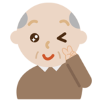 ウインクする高齢者の男性のイラスト