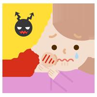 虫歯が痛む若い女性のイラスト2