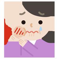 虫歯が痛む中年女性のイラスト1
