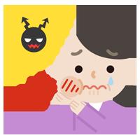 虫歯が痛む中年女性のイラスト2