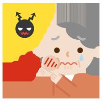 虫歯が痛む高齢者の女性のイラスト2