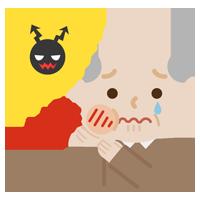 虫歯が痛む高齢者の男性のイラスト2