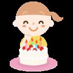 誕生日ケーキを前に喜ぶ女の子のイラスト