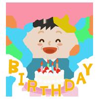 誕生祝いをする中年男性のイラスト