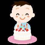 誕生日のケーキを喜ぶ男の子のイラスト