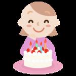 誕生日のケーキを喜ぶ若い女性のイラスト
