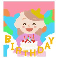 誕生祝いをする若い女性のイラスト