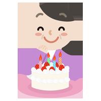 誕生日ケーキを前に喜ぶ中年女性のイラスト