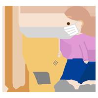 掃除機をかける若い女性のイラスト3