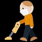掃除機をかける若い男性のイラスト2