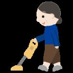 掃除機をかける中年女性のイラスト1